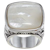 City by City Silvertone White Mother of Pearl Antiqued Square Ring