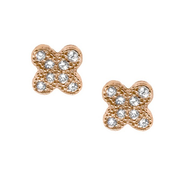14k Rose Gold over Silver Cubic Zirconia Clover Stud Earrings