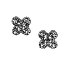 Black-plated Silver Clear Cubic Zirconia Clover Stud Earrings