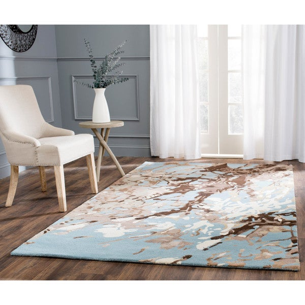 Safavieh Handmade Deco Art Blue New Zealand Wool Rug (7'6 x 9'6)