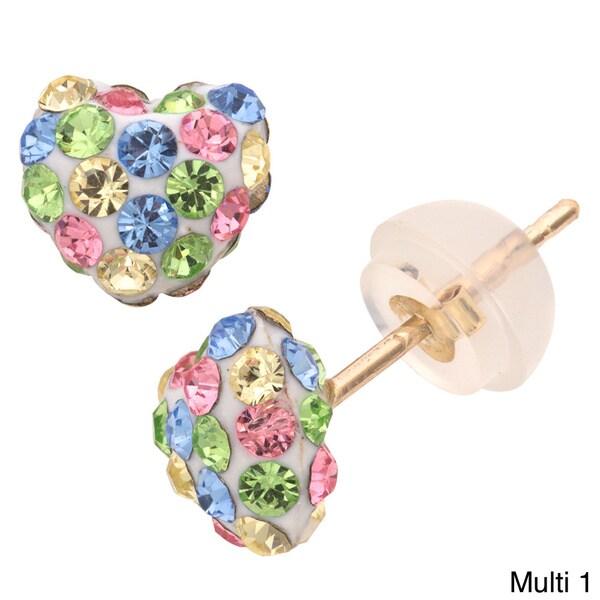 Junior Jewels 10-karat Gold Heart-shaped Multicolored-crystal Stud Earrings