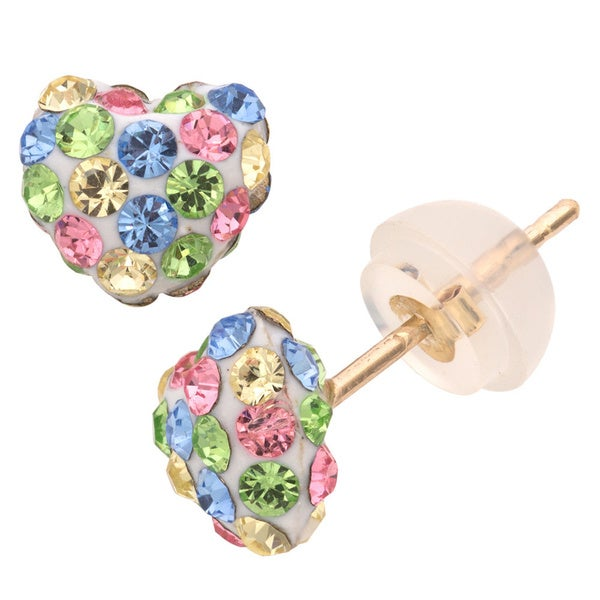 Junior Jewels 10 Karat Gold Heart Shaped Multicolored Crystal Stud Earrings