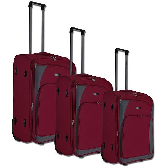 Benzi Red/Grey 3-piece Luggage Set
