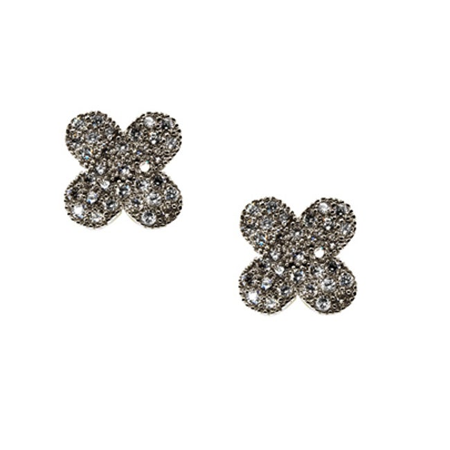Brown-plated Sterling Silver Cubic Zirconia Clover Stud Earrings