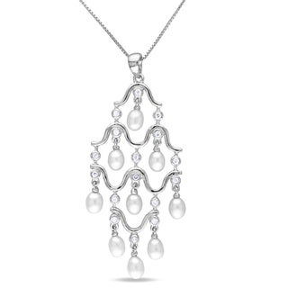 Miadora Silver FW Pearl and Cubic Zirconia Chandelier Necklace (4-4.5 mm)