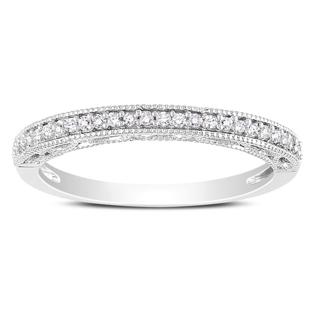 Miadora 10k White Gold 1/10ct TDW Diamond Band (H-I, I2-I3) - Thumbnail 0