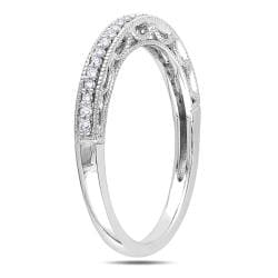 Miadora 10k White Gold 1/10ct TDW Diamond Band (H-I, I2-I3) - Thumbnail 1