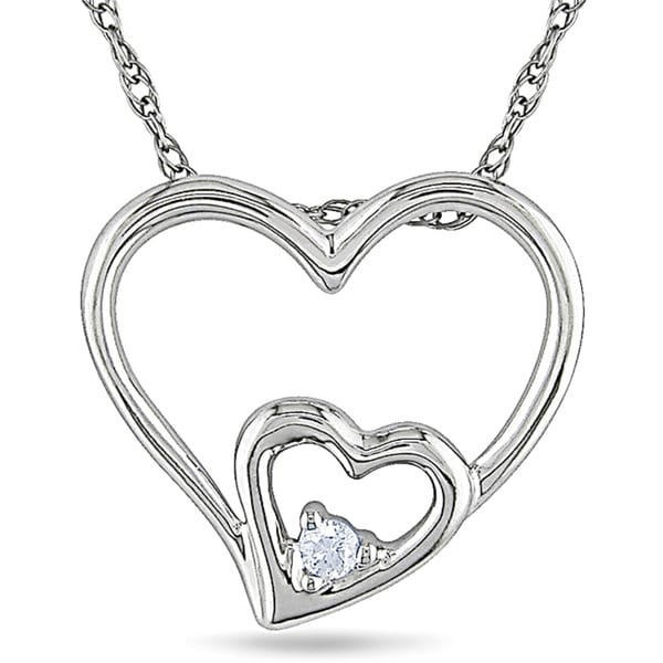 10k White Gold Diamond Accent Double Heart Necklace