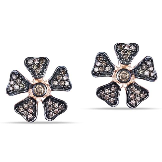 Miadora 10k Pink Gold 1/4ct TDW Brown Diamond Flower Earrings