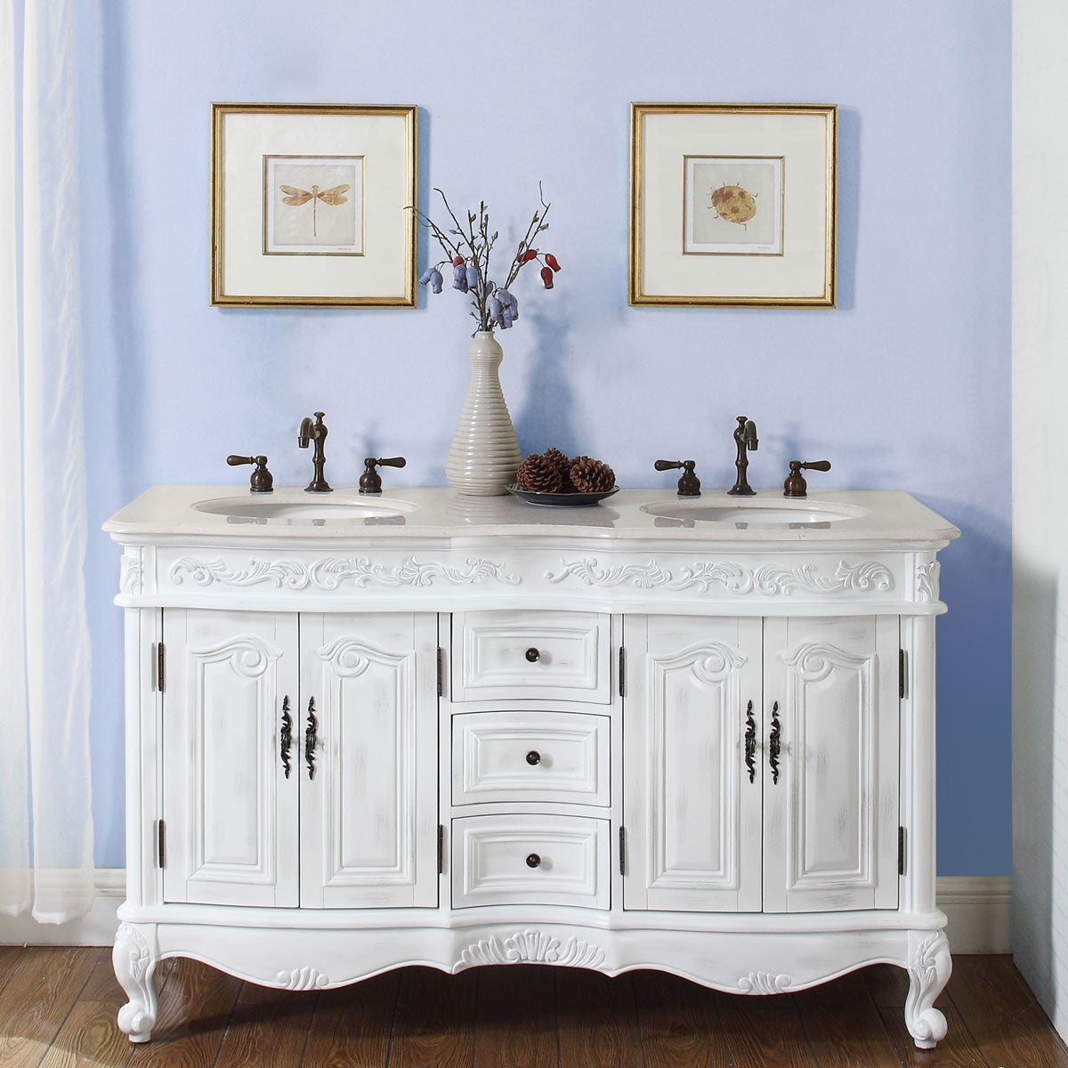 Shop For Silkroad Exclusive Stone Top 58 Inch Double Sink Bathroom Vanity Get Free Delivery On Everything At Overstock Your Online Furniture Outlet Store Get 5 In Rewards With Club O 6657590