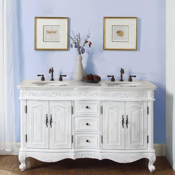 Silkroad Exclusive Stone Top 58 Inch Double Sink Bathroom Vanity Overstock 6657590