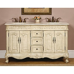 Silkroad Exclusive 58-inch Stone Counter Top Bathroom Vanity Lavatory Double Sink Cabinet
