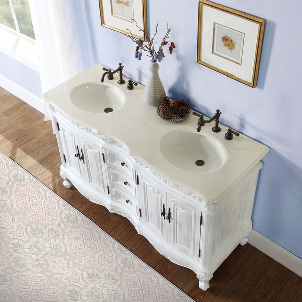 Silkroad Exclusive 58 Inch Stone Counter Top Bathroom Vanity Lavatory Double  Sink Cabinet   Free Shipping Today   Overstock.com   14217896