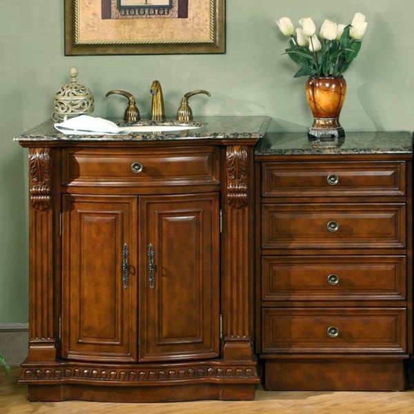 Silkroad Exclusive 53-inch Stone Counter Top Bathroom Vanity Lavatory Single Sink Cabinet
