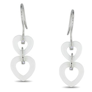 Miadora Sterling Silver 6 1/2ct TGW White Onyx and Diamond Accent Earrings