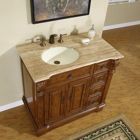 Silkroad Exclusive 38-inch Stone Counter Top Bathroom Vanity Lavatory Single Sink Cabinet