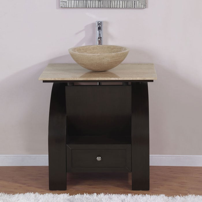 Top Of Counter Sink : ... Stone Counter Top Bathroom Vanity Lavatory Single Vessel Sink Cabinet