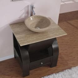 Silkroad Exclusive 30 Inch Stone Counter Top Bathroom Vanity Lavatory Single Vessel Sink Cabinet