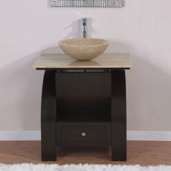 Silkroad Exclusive 30-inch Stone Counter Top Bathroom Vanity Lavatory Single Vessel Sink Cabinet