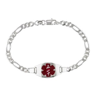 Miadora Sterling Silver Medical Link 7.5-inch Bracelet
