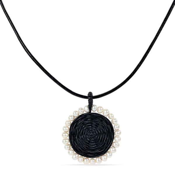 Catherine Catherine Malandrino Black Leather Cord Freshwater Pearl 19-inch Necklace