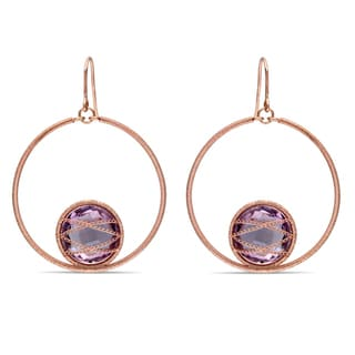 Link to Miadora Pink Gold Over Silver 13 1/2Ct TGW Amethyst Drop Earrings Similar Items in Earrings
