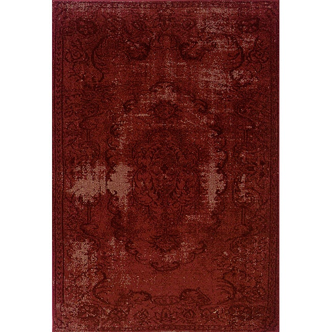 Overdyed Distressed Oriental Red/ Black Area Rug (9'10 x 12'10)
