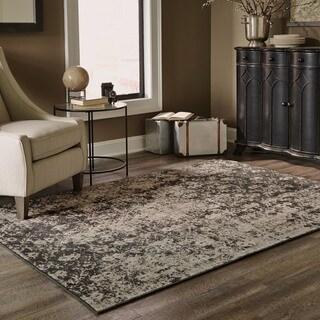 Distressed Overydyed Grey/ Black Area Rug (9'10 x 12'10)