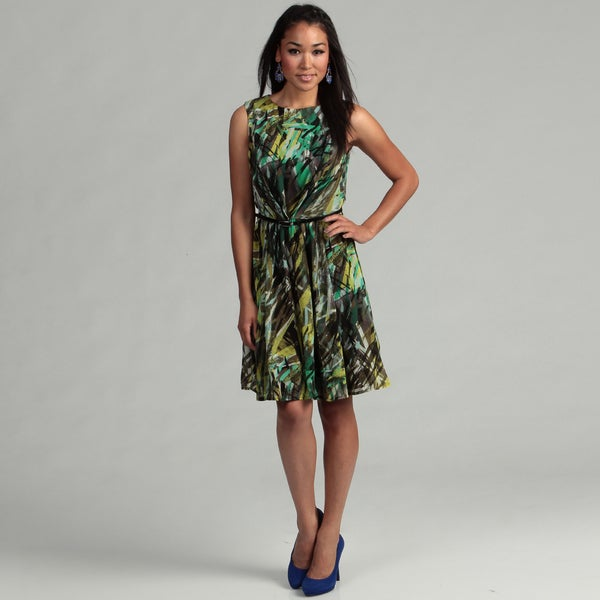 London Times Women's Black/ Green Belted Dress FINAL SALE