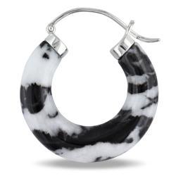 Miadora Sterling Silver Zebra Print Jasper Hoop Earrings - Thumbnail 1
