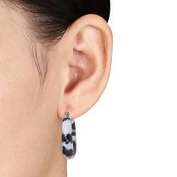 Miadora Sterling Silver Zebra Print Jasper Hoop Earrings - Thumbnail 2