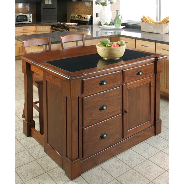 Home Styles Aspen Kitchen Island Granite Top with Two Stools