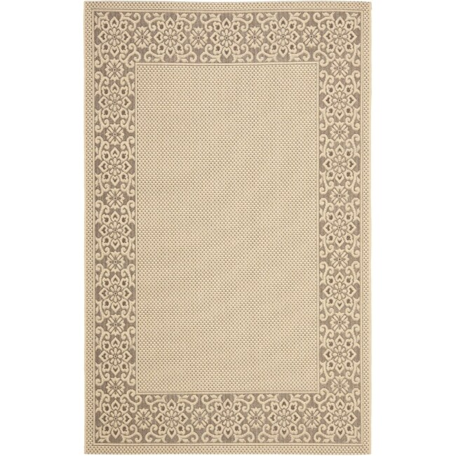 Safavieh Courtyard Cream/ Light Chocolate Indoor/ Outdoor Rug (4' x 5'7)
