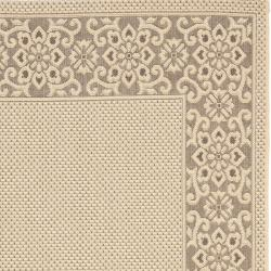 Safavieh Courtyard Cream/ Light Chocolate Indoor/ Outdoor Rug (4' x 5'7) - Thumbnail 1