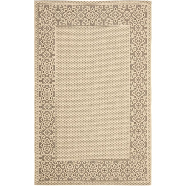 Safavieh Courtyard Cream/ Light Chocolate Indoor/ Outdoor Rug - 8' x 11'2