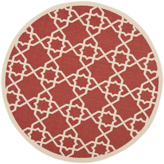 Safavieh Poolside Red/ Beige Indoor Outdoor Rug (6'7 Round)