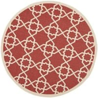 "Safavieh Courtyard Geometric Trellis Red/ Beige Indoor/ Outdoor Rug - 6'7"" x 6'7"" round"