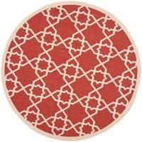 "Safavieh Courtyard Geometric Trellis Red/ Beige Indoor/ Outdoor Rug - 6'7"" x 6'7"" round"