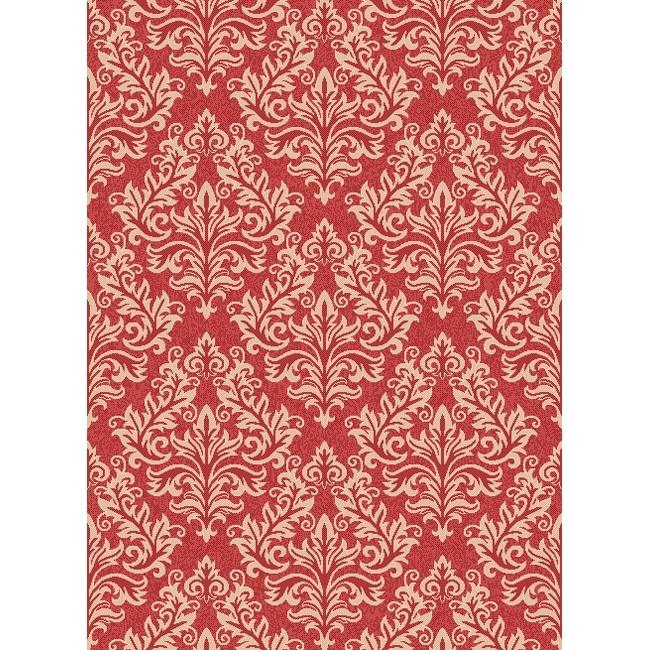 Safavieh Poolside Red/ Cream Indoor Outdoor Rug (6'7 x 9'6)