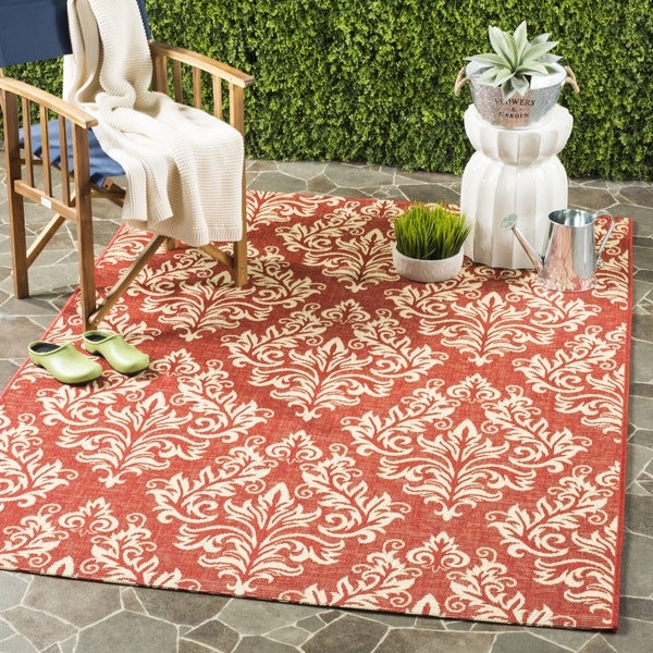 Safavieh Poolside Red/ Cream Indoor Outdoor Rug (8' x 11'2)