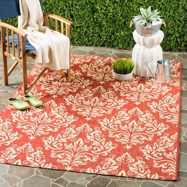 Safavieh Poolside Red/ Cream Indoor Outdoor Rug - 8' x 11'2