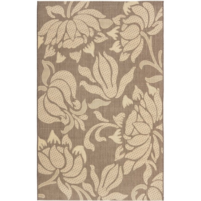 Safavieh Poolside Light Chocolate/ Cream Indoor Outdoor Rug - 8' x 11'2