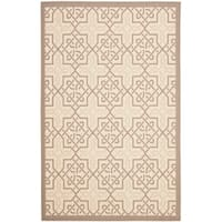 "Safavieh Poolside Beige/ Dark Beige Indoor Outdoor Rug - 6'-7"" x 9'-6"""