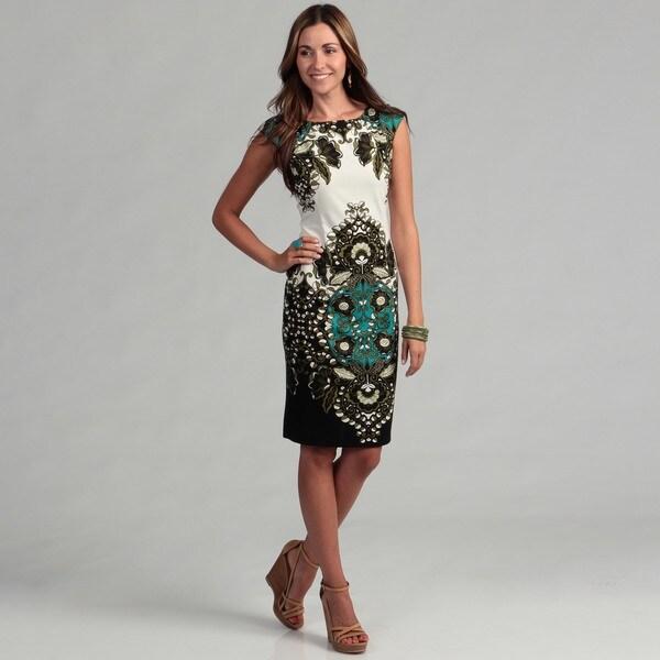 London Times Women's Floral Motif Sheath Dress