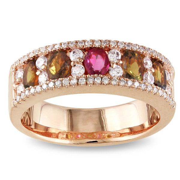Miadora 18k Rose Gold Plated Silver 2 1/7 CT TGW Tourmaline and CZ Ring