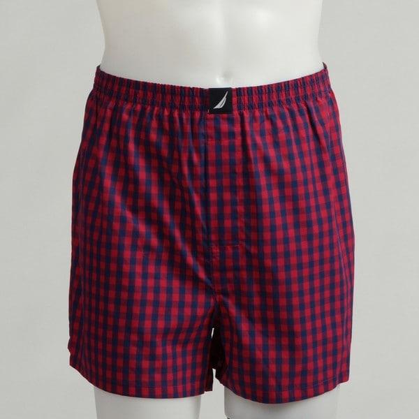 Shop Nautica Men S Red Checkered Woven Boxer Shorts Free