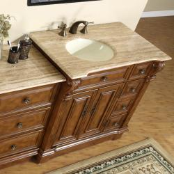 ... Silkroad Exclusive 58 Inch Stone Counter Top Bathroom Vanity Lavatory  Single Sink Cabinet   Thumbnail ...