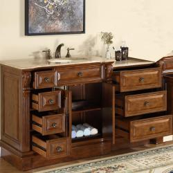 Silkroad Exclusive 58-inch Stone Counter Top Bathroom Vanity Lavatory Single Sink Cabinet - Thumbnail 2