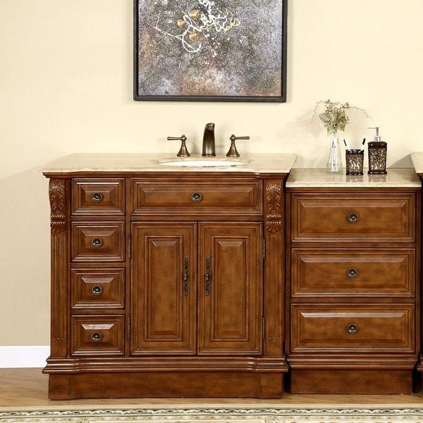 58 Bathroom Vanity Single Sink: Shop Silkroad Exclusive 58-inch Stone Counter Top Bathroom