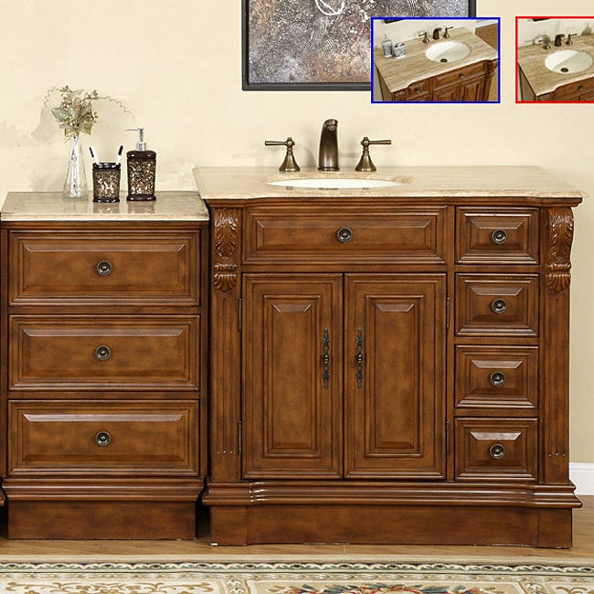 Top Of Counter Sink : ... 58-inch Stone Counter Top Bathroom Vanity Lavatory Single Sink Cabinet